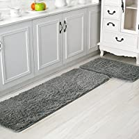 Ustide 2-piece Kitchen Area Rug Antiskid Door Mat Soft Shaggy Floor Runner Solid Color Bath Room Rugs Silver Gray Large Size