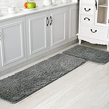 Ustide 2-piece Kitchen Area Rug Antiskid Door Mat Soft Shaggy Floor Runner Solid Color Bath Room Rugs Silver Gray