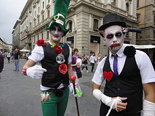 Home Comforts Canvas Print Costume Florence Zombie Italy Street Street Mimes Vivid Imagery Stretched Canvas 32 x 24 -