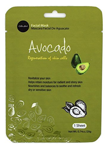 Celavi Essence Facial Mask Paper Sheet Korea Skin Care Moisturizing 12 Pack (Avocado) ()