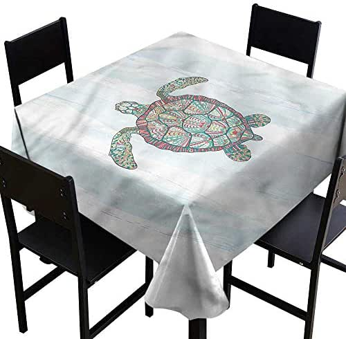 home1love Turtle Fashions Table Cloth Grunge Effect Shell Pattern Dinner Picnic Table Cloth Home Decoration 36 x 36 Inch
