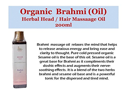 - Brahmi Oil - 100% USDA CERTIFIED ORGANIC - Ayurvedic Head Massage Oil - 200ml
