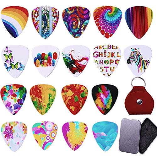 BYMORE 18 Pcs Vivid 0.71mm Medium Thickness Guitar Picks with Metal Storage Box and Leather Key Chain for Ukelele,Bass, Electric & Acoustic Guitars