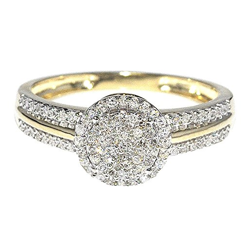 1/4cttw Diamond Engagement Ring Bridal Ring 10K Yellow Gold Halo Style 8mm New(0.25cttw) (5) by Midwest Jewellery