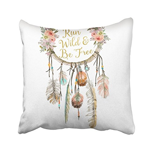 - Accrocn Colorful Vintage Tribal Boho Bright Watercolor Dream Catcher Feather Nursery Polyester 16 x 16 Inch Square Throw Pillow Covers With Hidden Zipper Home Sofa Cushion Decorative Pillowcases