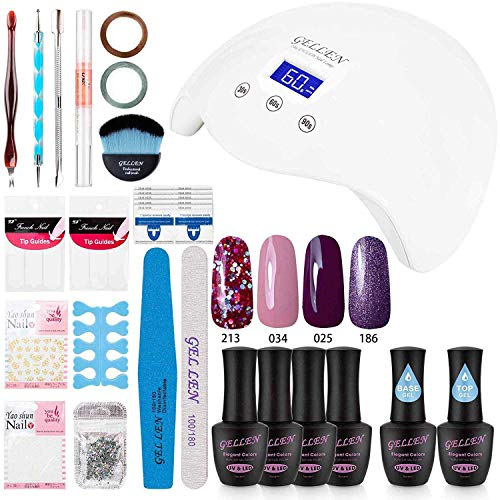 Gellen Gel Polish Starter Kit Colors with 24W LED Light Base Top Coat, Manicure Tools French Rhinestones Styles Stickers Nail Art Designs G18