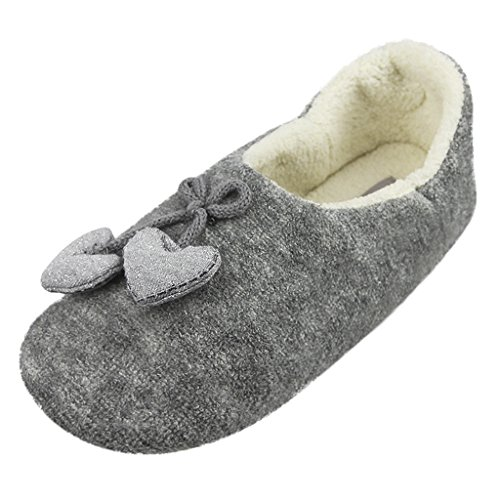 Fakeface Winter Warm Fleece Slippers,Womens Ladies Girls Cute Cartoon Soft Cozy Thermal Fuzzy Indoor Slippers Non-slip Home Bedroom Slide Slipper Booties Plush Slip-on House Slippers Ankle Boots Shoes Grey, Bowknot&heart