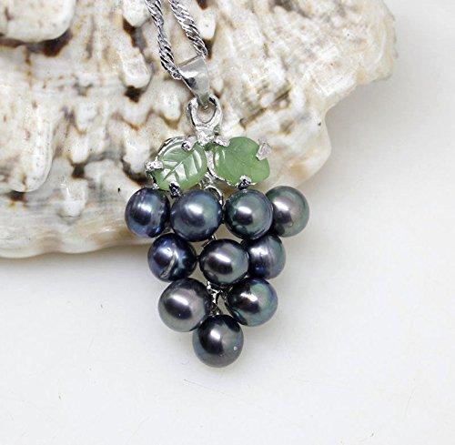 Natural Black Freshwater Pearl Jade Grape Pendant (Grapes Pendant Necklace)