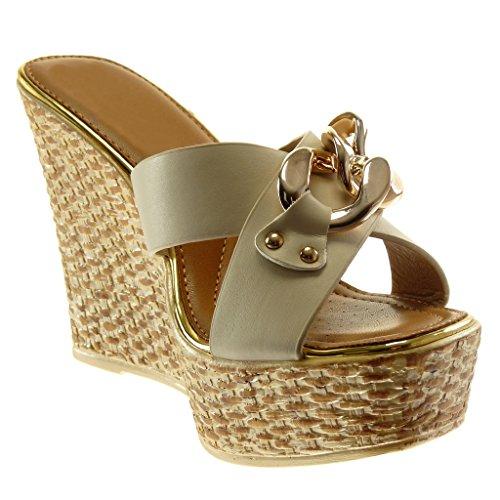Angkorly Women's Fashion Shoes Mules - Slip-on - Platform - Chains - Golden - Crossed Thongs Wedge Platform 11.5 cm Beige rHu6U