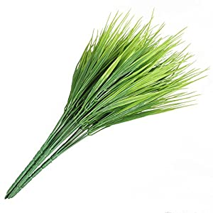 HOGADO Artificial Outdoor Plants, 4pcs Fake Plastic Greenery Shrubs Wheat Grass Bushes Flowers Filler Indoor Outside Home House Garden Office Decor 7