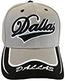 Dallas Men's Cursive Underline Script 2-Tone Adjustable Baseball Cap (Light Gray/Black)