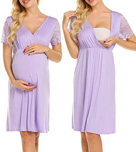 MAXMODA Womens Maternity Dress Short Sleeve Nursing Nightgown Pregnancy Gown Cotton Nightdress Light Purple
