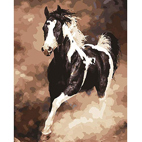 (5D Diamond Painting Rhinestone Picturesque Lifelike Horse Gallop Embroidery Wallpaper DIY Cross Stitch Kit Crystal Full Drill Drawing for Adult Tools Home Decoration)