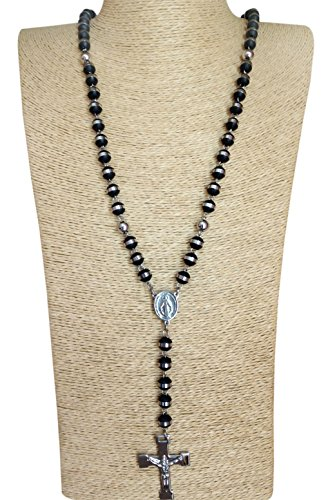 Vintage Rosary Bead (J shine Men Rosary Necklace Stainless Steel Crucifix Pendant & Vintage Chain 8mm Black Bead Gn543s)