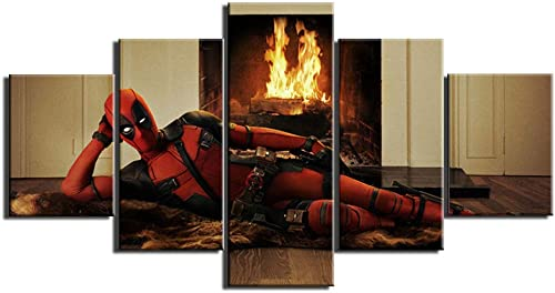 john psarris Dionysios Print Framed Canvas Deadpool Hero Movie Marvel 5 Pieces Wall Art Decor Ready to Hang on The Wall