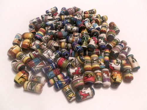 100 Peruvian Handpainted Abstract Design Ceramic Beads Tubes Ovals Rounds Assorted Colors