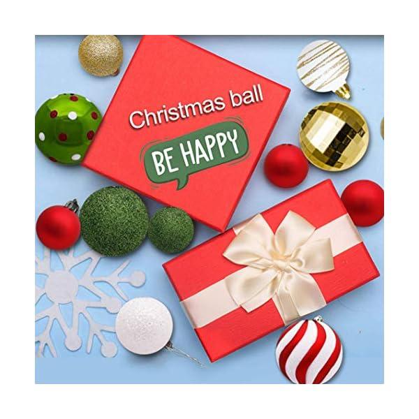 Sunshine smile Decorazioni Albero di Natale,Palle di Natale in plastica,Palline di Natale,Palline di Natale,Palline di Natale Decorazioni,Plastic Palline (Rosso Bianco Verde) 5 spesavip