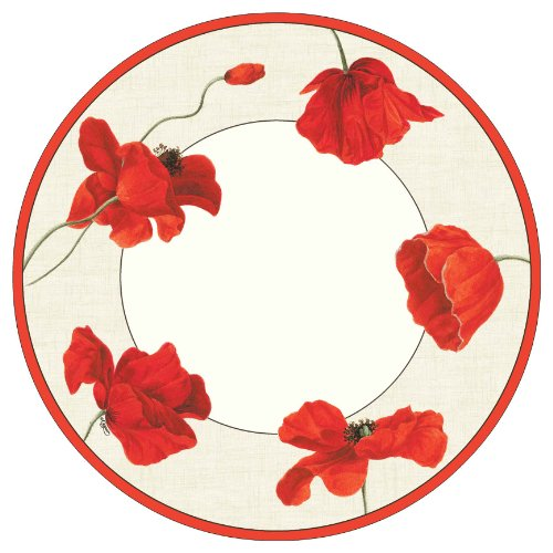 Entertaining with Caspari Dancing Poppies Paper Dinner Plates, Pack of 8