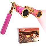 HQRP Opera Glasses s w/Crystal Clear Optic (CCO) 3 x 25 with Built-in Foldable Handle and Red Reading Light (Pink with Gold)