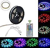 Glückluz Tiras de Luces LED Impermeable IP65 LED Strip con Mando a Distancia Bias RGB Iluminación Alimentación USB Multicolor para Cocina PC Escritorio Monitor Hogar Iluminación de TV 2M 5050 RGB 60 LEDs 44 Botones
