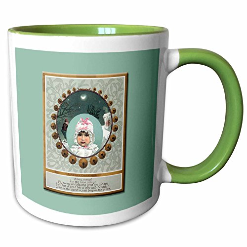 Sleigh Two Tone (3dRose BLN Vintage Christmas Designs - Baby in a White Bonnet with Pink Bows Framed with Sleigh Bells Vintage Christmas Card - 11oz Two-Tone Green Mug (mug_153529_7))