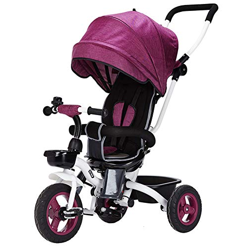 YINGH - 4 in 1 Children's Tricycle Foldable, Push Rod can be Adjusted and Disassembled, Extended Awning and Comfortable seat, Stylish and Practical,6 Months - 5 Years Old