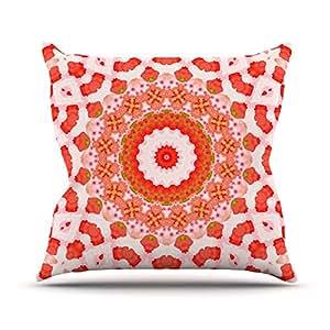 "KESS inhouse il2095aop0318x 45,7""Iris Lehnhardt Mandala"" I Rojo y Naranja Cojín Manta de exterior, multicolor"