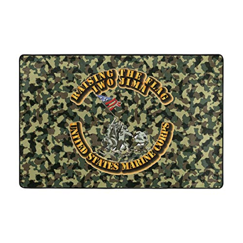 USMC Iwo Jima Home Doormat Indoor, Non Slip Absorbent Cozy Carpet 24x36 Inch