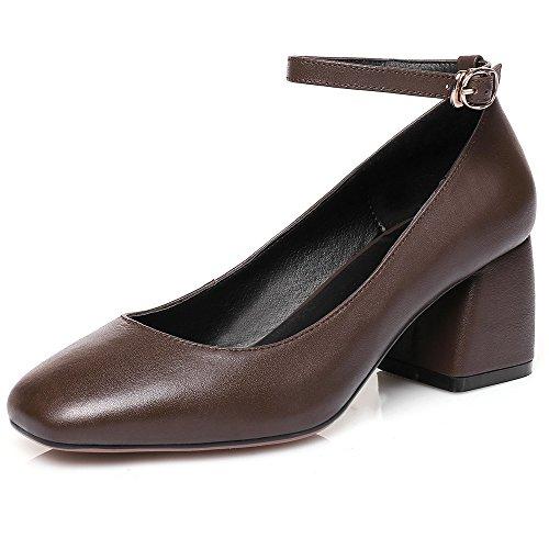 Nine Seven Cuero Puntera Cuadrada Tacones con Correa de Tobillo de Tacón Grueso para Mujer marrón