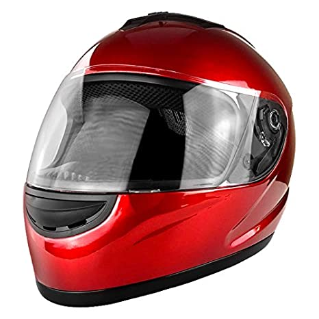 Amazon.com: Casco de moto rojo brillante con cara completa ...