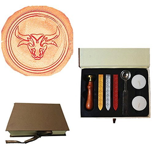 MNYR Vintage Chinese Zodiac Taurus the Bull Decorative Wedding Invitations Gift Cards Paper Stationary Envelope Seals Wax Seal Stamp Sealing Wax Stamp Gift Box Candles Wax Sticks Melting Spoon Kit Set