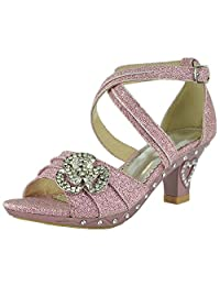 Gir'ls Ankle Strap Glitter Rhinestone Pageant Dress High Heel Sandals