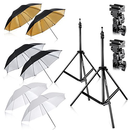 Neewer Flash Mount Three Umbrellas Kit (2) 33''/84cm White Soft/Silver Reflective/Gold Reflective Umbrella for Canon 430EX II,580EX II,Nikon SB600 SB800,Yongnuo YN 560,YN 565,Neewer TT560,TT680