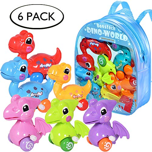 Dinosaur Toys for 3 Year Olds, 6-Pack Wind-up Pull-Back Dinosaur Cars Toys for 2,3,4,5,6 Years Old Boys Girls Toddlers Kids, Dinosaur Birthday Party Supplies Favors, Gift Idea with Dinosaur Backpack (Birthday Party Ideas For 7 Yr Old Girl)