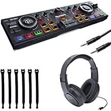 Numark DJ2GO2   Pocket DJ Controller with Audio Interface + Samson Headphones + Stereo Interconnect Cable + Strapeez - Top Value Bundle
