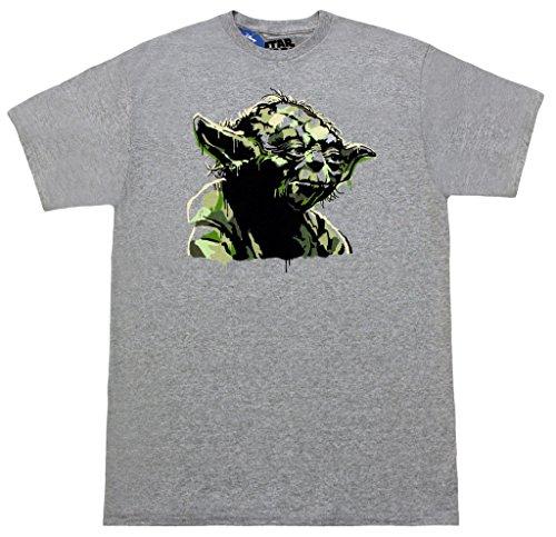Star Wars Painted Yoda Adult Heather Gray T-shirt