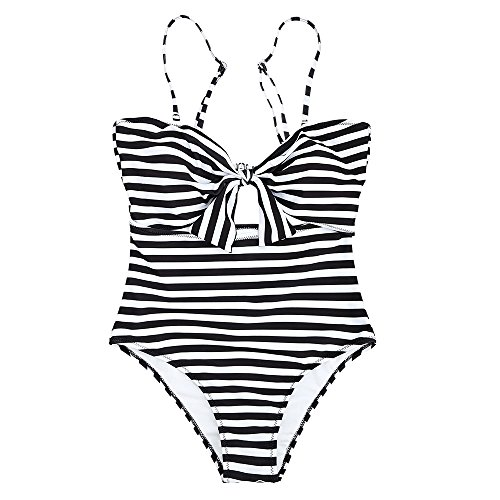 GAMISS Women's Striped High Waisted Swimsuit Knot Front Strappy One Piece Bathing Suit(Black-L)