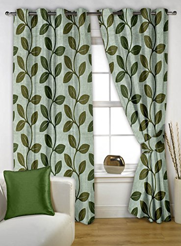 Story@Home Nature Eyelet 2 Pieces Floral Premium Polyester Window Curtains, 5 ft, Green