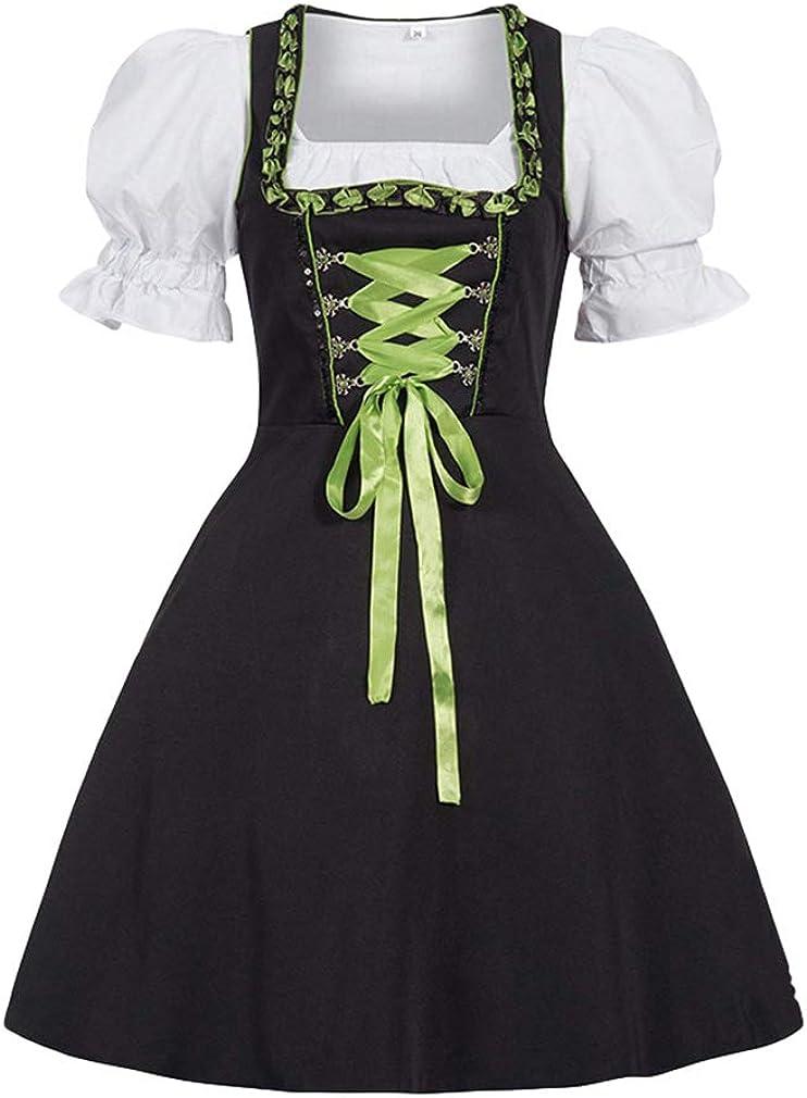 Frauen Traditionelle Bayerische Kost/üm Kurzarm Quadratischer Kragen Festkleid f/ür Oktoberfest Halloween Karneval Mxssi Dirndl Kleid f/ür Damen