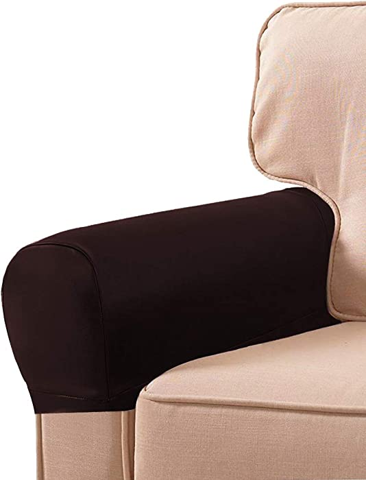 LERTREE 1 Pair PU Leather Sofa Armrest Covers Armchair Arm Covers Stretchy Furniture Protectors for Couch Chair Arm (Coffee)