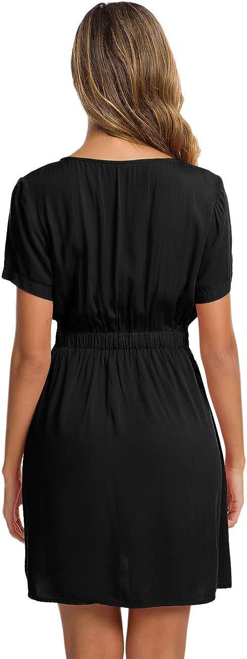 Womens Aline Midi Dresses Button Front Dress Pocket Sun Dresses Black XL