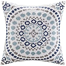 Madison Park Signature Grace Cotton Embroidered Square Pillow Indigo 20x20""
