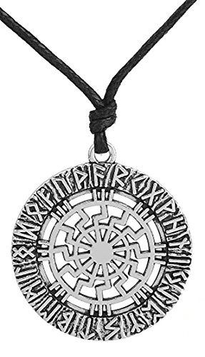 Vintage Slavic Kolovrat Sun Wheel Pagan Black Sun Nordic Runes Pendant Necklace Spiritual Jewelry for Men (antique silver) (Sun Wheel Pendant)