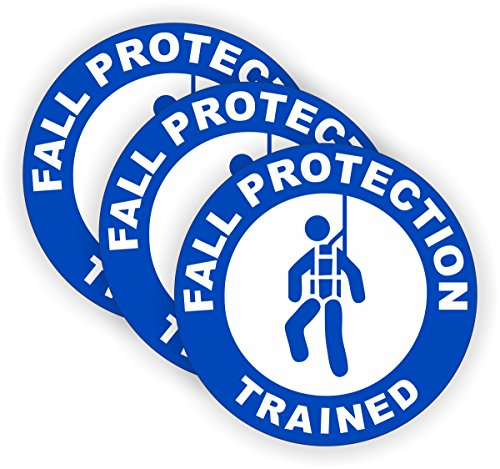 ((3) Fall Protection Trained Hard Hat Stickers / Safety Helmet Decals Labels Toolbox Scaffold Ladder Boom Truck Crane Laborer)