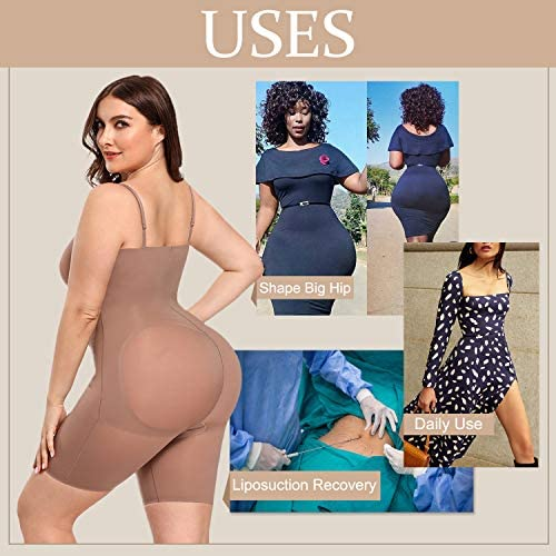 FeelinGirl Women's Tummy Control Shapewear Plus Size Thong Waist Trainer Bodysuits Full Body Shaper with Adjustable Straps