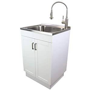 Transolid TC-2420-WC 24-in. All-in-One Laundry/Utility Sink Kit, White/Stainless Steel