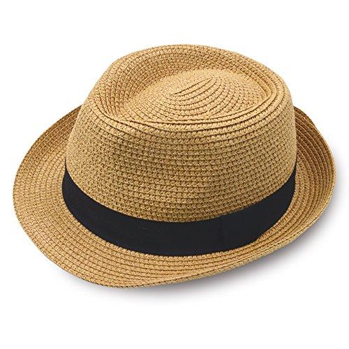 (Stynice Panama Hat Foldable Fedora Hats for Women & Men Short Brim Straw Hats Beach Sun Hat for Summer Vacation Jazz 55-58cm)