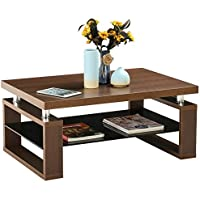 Yaheetech Living Room Rectangular Wood Top Coffee Tables & Chrome Finish Legs with Glass Storage Shelf (Brown)
