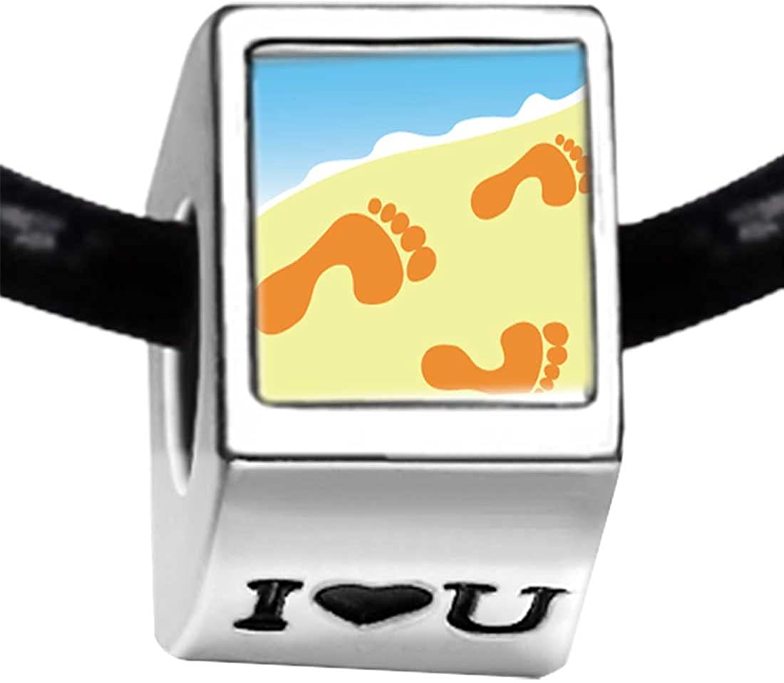 GiftJewelryShop Silver Plated Footprints in The Sand Photo I Love You Charm Beads Bracelets