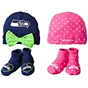 Gerber Childrenswear Dots 4 Pack Cap & Bootie Set, Seatle Seahawks, 0-6 Months, Pink